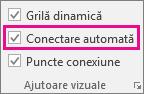 Bifați sau debifați Conectare automată pe fila Vizualizare pentru a activa sau a dezactiva Conectarea automată.