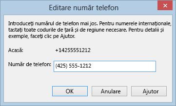 Exemplu de număr de telefon Lync în formatul de apelare internațional