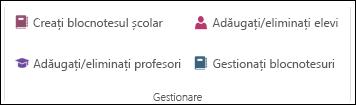 Captură de ecran cu opțiunile pentru gestionarea registrului de lucru OneNote