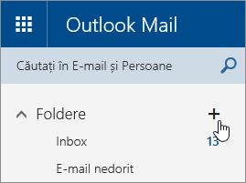 Captură de ecran a butonului Creați un folder nou din Outlook.com.