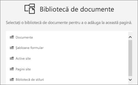 Selectați o bibliotecă de documente pentru a pune într-o pagină