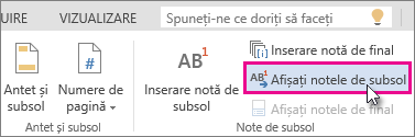 Butonul Afișați notele de subsol în Word Online