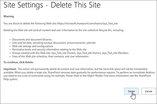 Ștergere avertisment site și ecran de confirmare