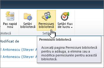 Butonul de permisiuni bibliotecă din panglică