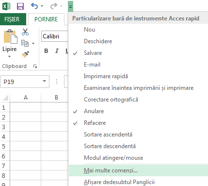 Utilizați lista verticală Particularizare bară de instrumente Acces rapid pentru a accesa comenzile pe care nu se află deja în panglică.