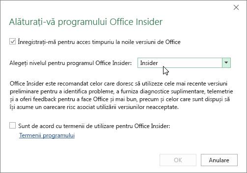 Caseta de dialog Alăturați-vă programului Office Insider cu opțiunea de nivel Insider