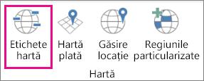 Opțiunea Etichete hartă - Hărți 3D