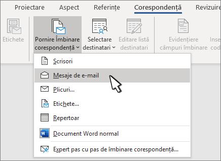 Pornirea îmbinării corespondenței cu mesajele de E-mail selectate