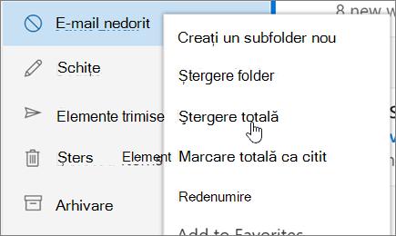 Captură de ecran afișează Ștergere toate opțiunea selectată pentru folderul E-mail nedorit.