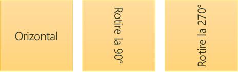 Exemple de orientare text: orizontală și rotit
