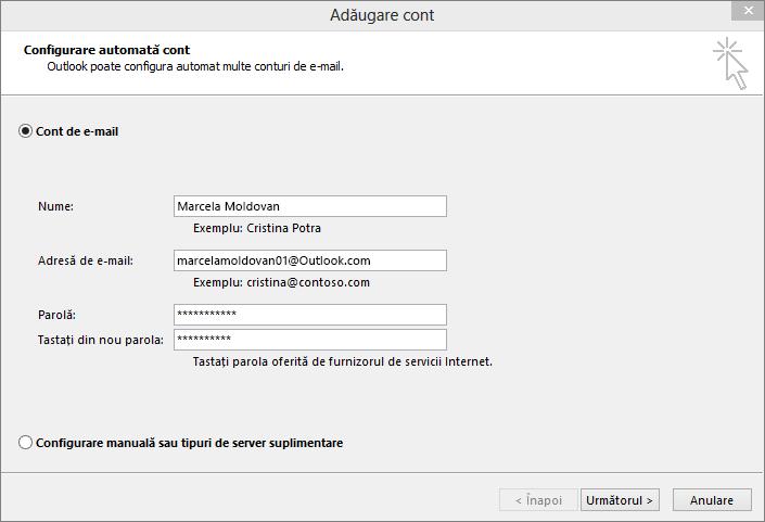 Utilizați configurarea automată a unui cont pentru a adăuga contul de e-mail ca parte a profilului nou creat pentru Outlook