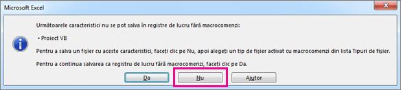 Registru de lucru care conține macrocomenzi sau cod VBA