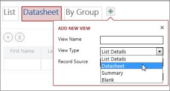 adăugarea altei vizualizări Foaie de date într-un tabel