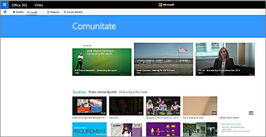Pagina Comunității Office 365 Video