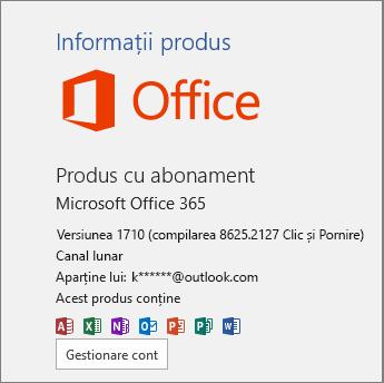 Compilarea Office 365 obișnuită
