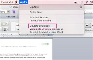 Office for mac menu screenshot