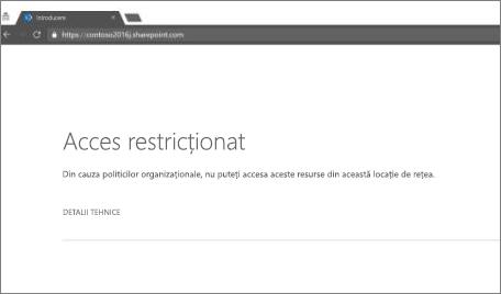 Accesul restricționat mesaj în browser