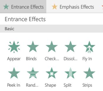 Efectele de intrare pentru animații în PowerPoint pe Android