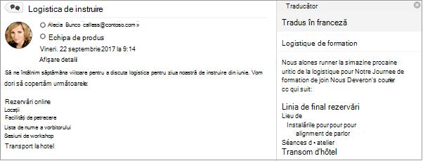 Acest mesaj a fost tradus din engleză în franceză utilizând limba Outlook Translator Add-In