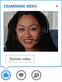 Captură de ecran a pornirii componentei video dintr-un mesaj IM