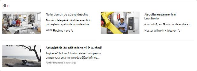 Screencap părții Web știri a unui site SharePoint, unde au fost filtrate postări
