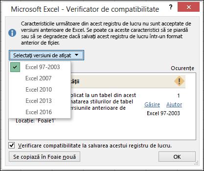 Verificator de compatibilitate Excel dialog