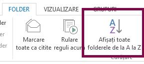 Ordonați folderele alfabetic, făcând clic pe Afișați toate folderele de la A la Z.