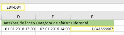 =E84-D84 și rezultatul 1,041666667