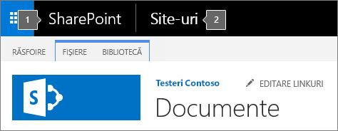 SharePoint 2016, colțul din stânga sus a ecranului care afișează lansatorul de aplicații și titlul