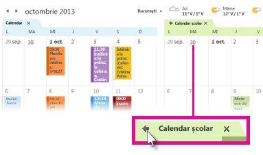Comanda Vizualizare în mod suprapunere de pe fila unui calendar