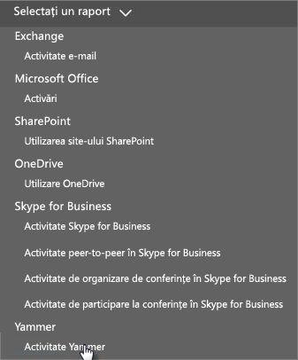 Captură de ecran cu meniul Selectați un raport din tabloul de bord Rapoarte Office 365