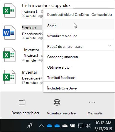 Meniul centru de activitate care apare atunci când faceți clic pe pictograma de instruire OneDrive