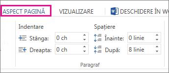 Imagine cu opțiuni de indentare și spațiere pe fila aspect pagină