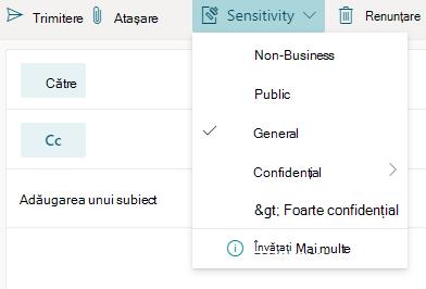Butonul sensibilitate cu opțiuni de sensibilitate în Outlook pentru web