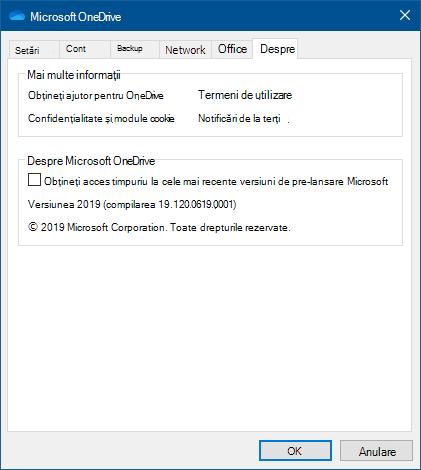 Interfața utilizator Despre OneDrive