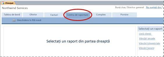 Fila Centru de raportare din șablonul pentru baze de date Servicii