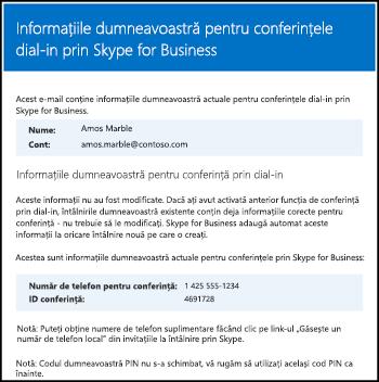 Mesaje de e-mail despre conferințe prin dial-in