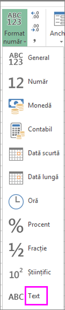 Formatul text pentru numere