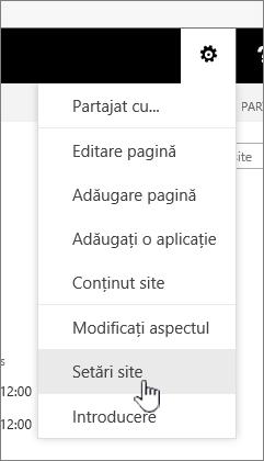 Opțiunea Setări site de sub butonul Setări