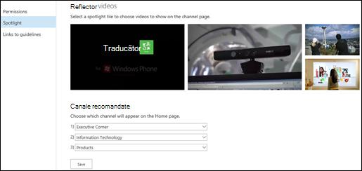 Pagina Setări canal portal - în prim plan