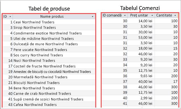 Captură de ecran de produse și comenzi tabele