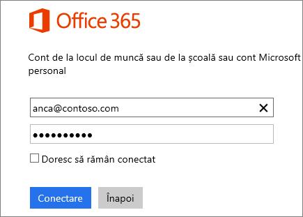 Captură de ecran a panoului de conectare Office 365