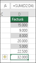Excel afișează o eroare atunci când o formulă omite celule dintr-o zonă