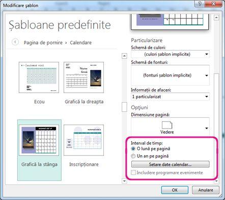 Locația pentru modificarea sau setarea datelor de calendar.