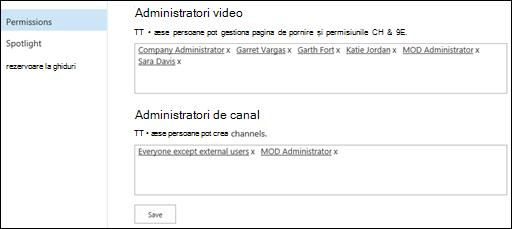 Pagina Setări canal portal - permisiuni