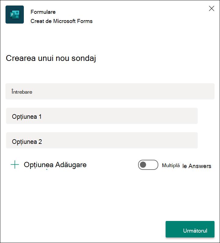 Rezultatele sondajului rapid al formularelor în Microsoft teams