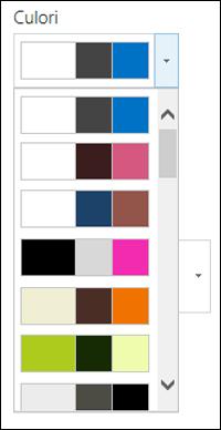 Captură  de ecran cu meniul de opțiuni pentru culoare dintr-un site SharePoint nou
