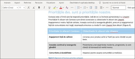 Formatarea textului în Word Online
