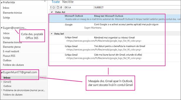 După ce adăugați contul dvs. Gmail, veți vedea două conturi în Outlook