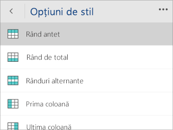 Captură de ecran a meniului Opțiuni stil, cu opțiunea Rând antet selectată.